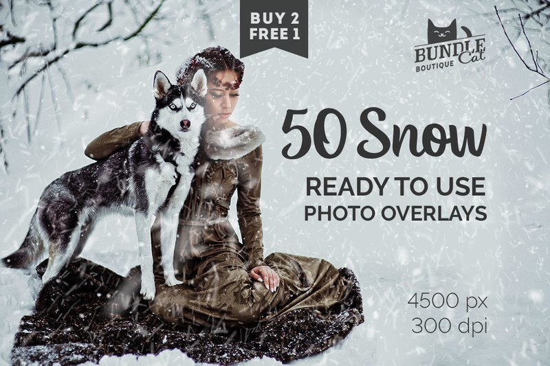 50 Falling Snow Photo Overlays