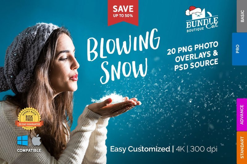 20+ Blowing Snow Photo Overlays + PSD Source