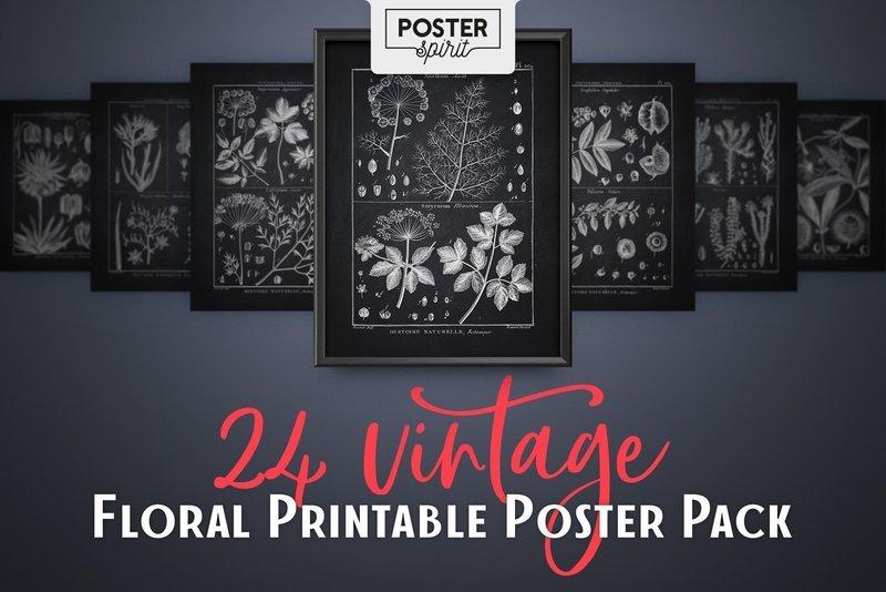 24 Black Vintage Floral Printable Botanical Poster Pack