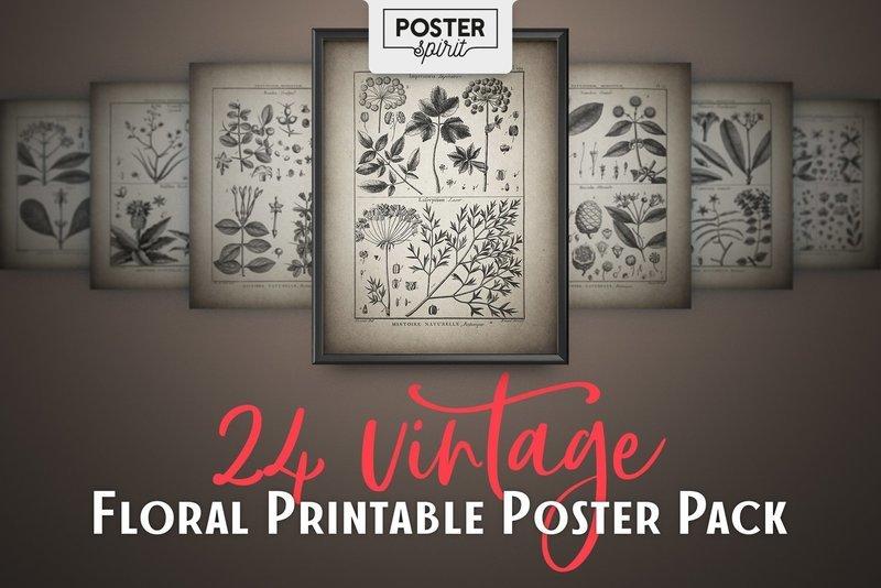 24 Vintage Floral Printable Botanical Poster Pack