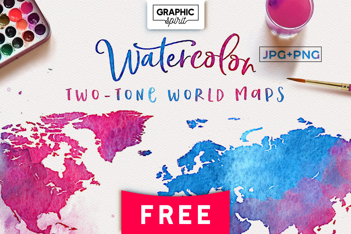 Free Watercolor Map - TWO-TONE JPG+PNG