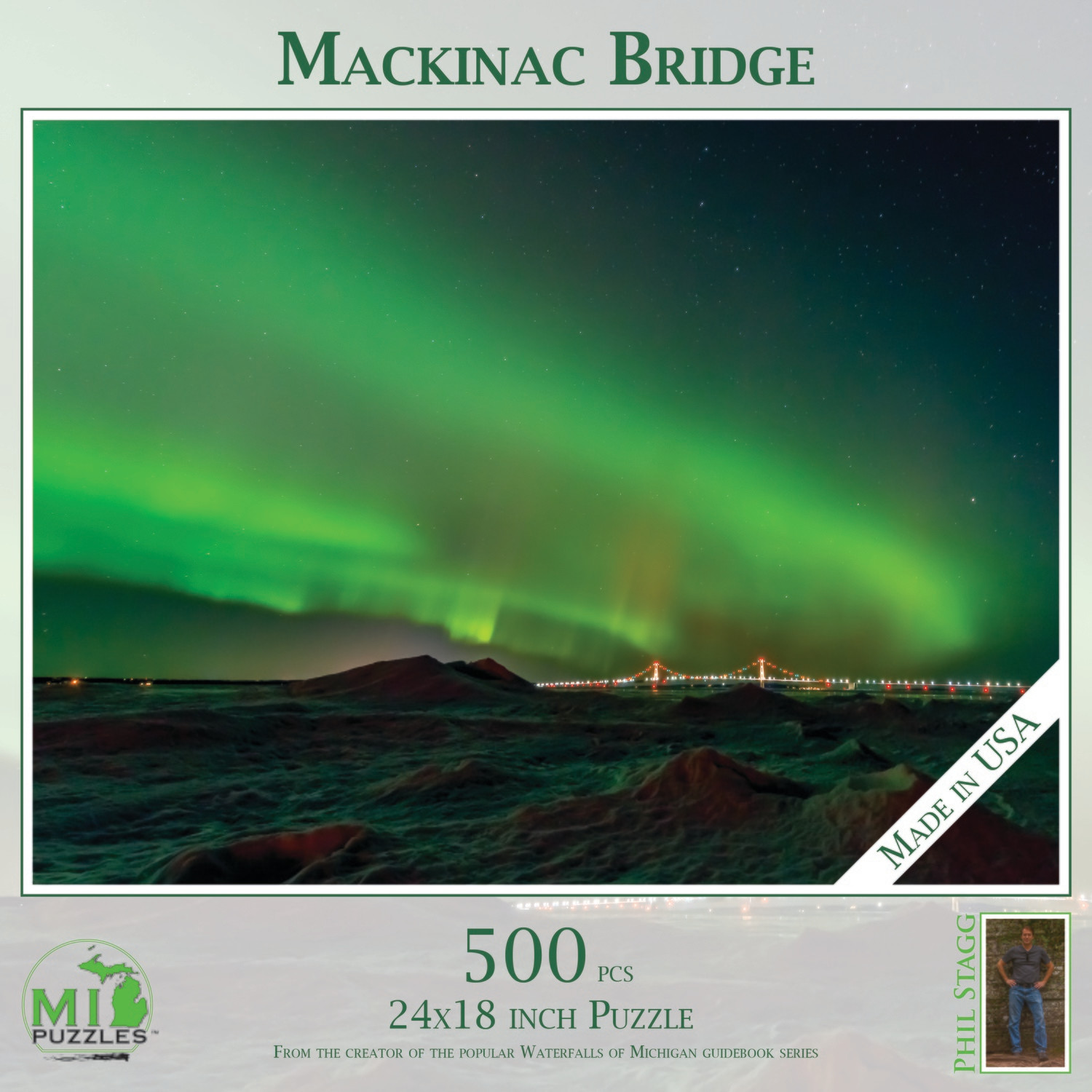 Mackinac Bridge with Northern Lights