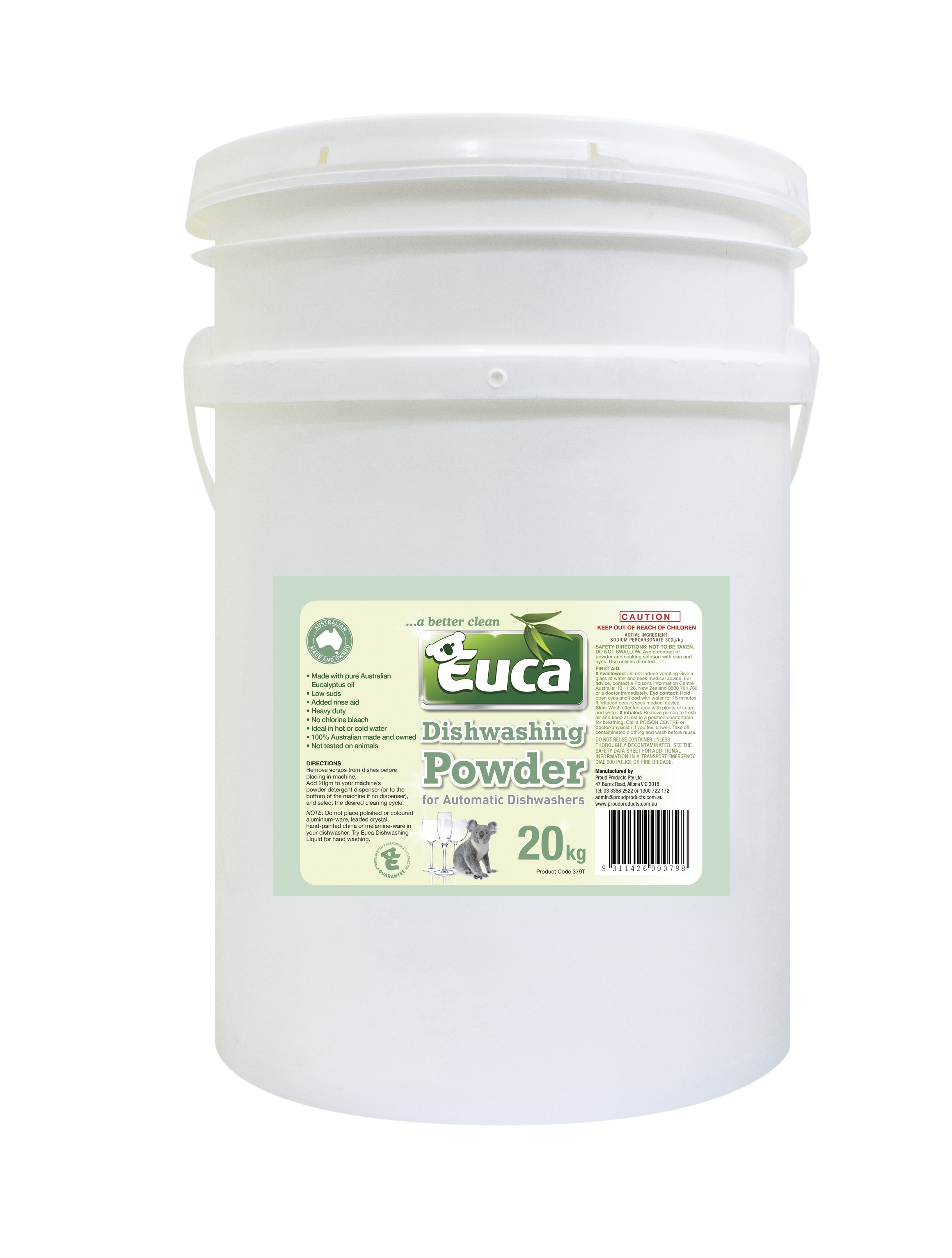 Euca Eucalyptus Dish Washing Powder  - NEW 20kg = 1000 Washes - Eco Friendly with No Fillers or other nasties 379T