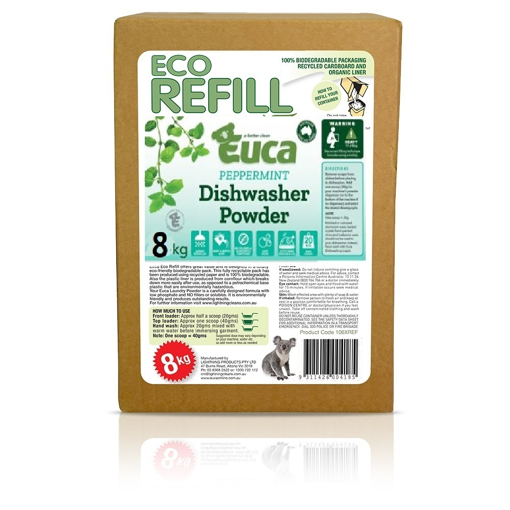 "Euca ""NEW"" Peppermint Eucalyptus Dish Washing Powder  - 10kg  = 500 Washes - Eco Friendly with No Fillers or other nasties"