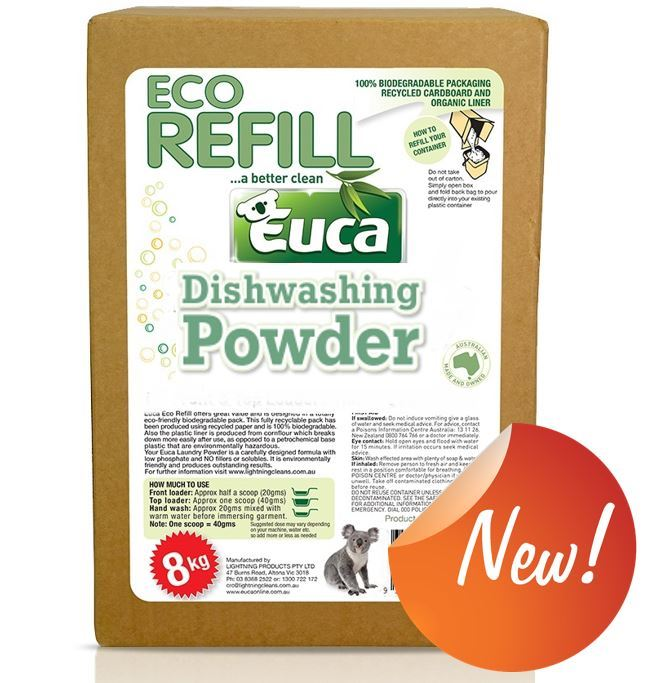 Euca Eucalyptus Dish Washing Powder  - New 8kg refill = 400 Washes - Eco Friendly with No Fillers or other nasties 379XREF