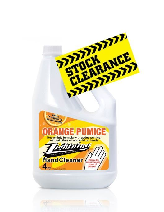 Lightning Orange Pumice Hand Cleaner 4lt  - Natural Citrus Heavy Duty Hand Cleaner . Work or Home use 899i