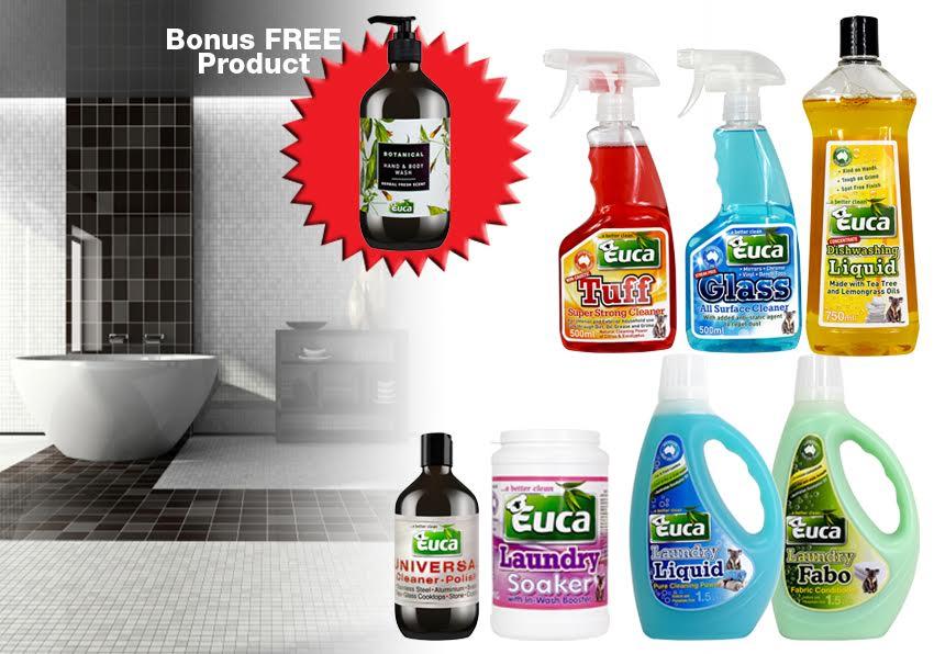 Euca Kitchen, Laundry & Bathroom Starter Kit  +  a Bonus 500ml Botanical EKLB01