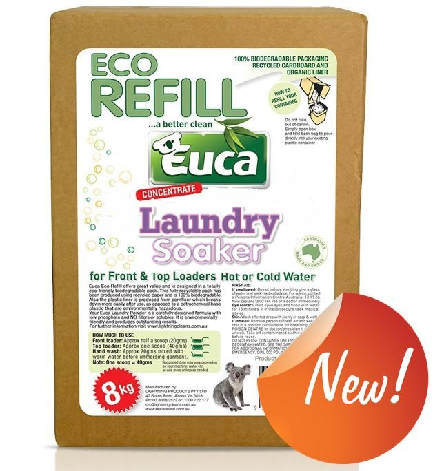 Euca Laundry Soaker & Brightener- NEW 8kg - No added Fillers, biodegradable 107XREF