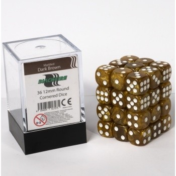 Blackfire Dice Cube - 12mm D6 36 Dice Set - Marbled Dark Brown
