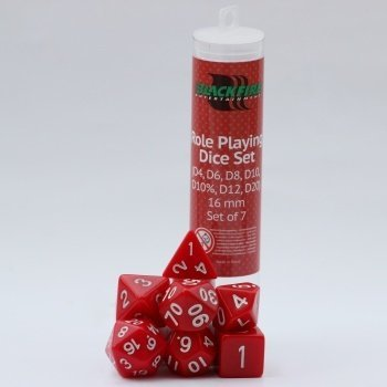 16mm Role Playing Dice Set - Red (7 Dice)