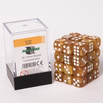 Blackfire Dice Cube - 12mm D6 36 Dice Set - Marbled Gold