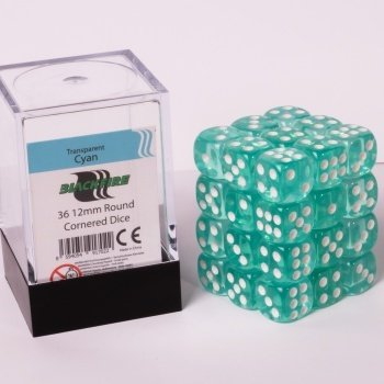 Blackfire Dice Cube - 12mm D6 36 Dice Set - Transparent Cyan