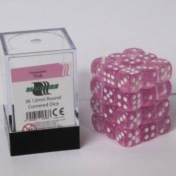 Blackfire Dice Cube - 12mm D6 36 Dice Set - Transparent Pink