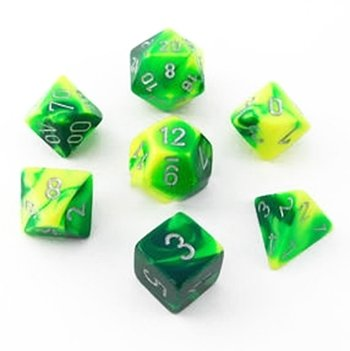 Chessex Gemini Polyhedral green-yellow w/silver 7-die