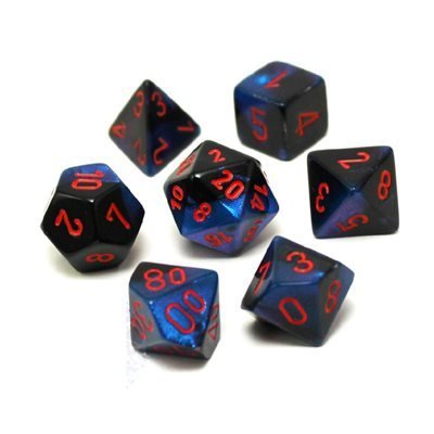 Chessix Gemini Polyhedral black-starlight w/red 7-Die
