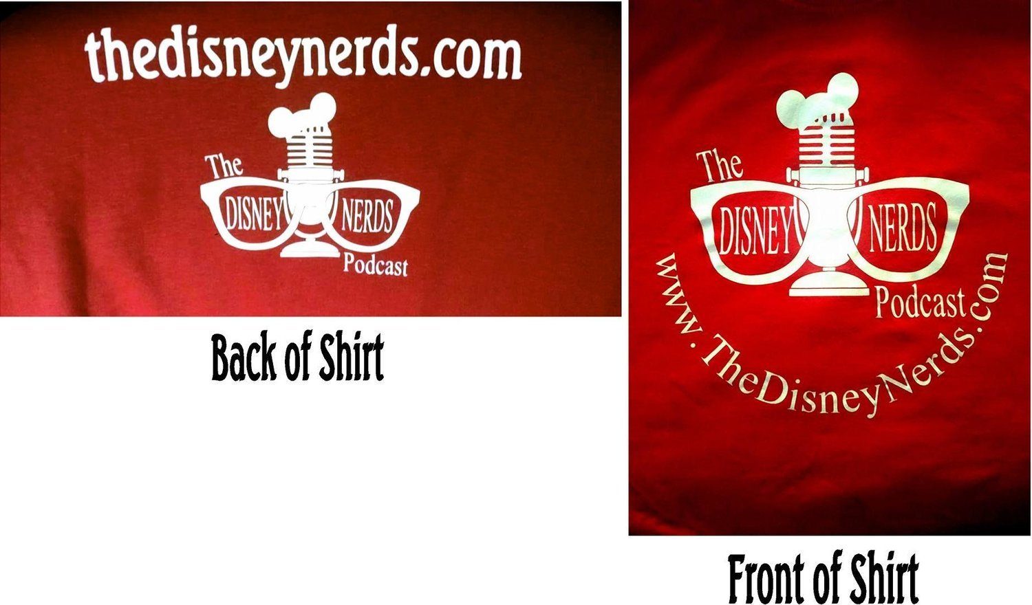 Disney Nerds Podcast T-shirts available in Youth, Women's and Men's Sizes