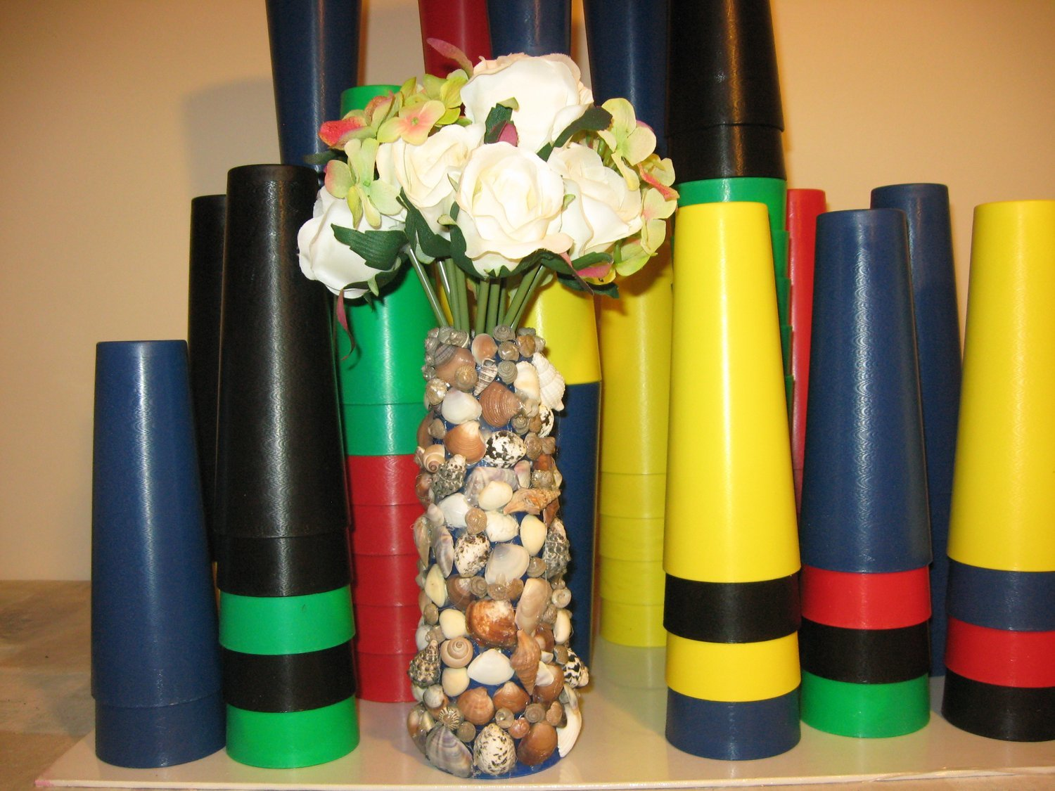 45 MULTI-COLORED CENTERPIECE VASE CONES FOR FRESH OR SILK FLOWERS