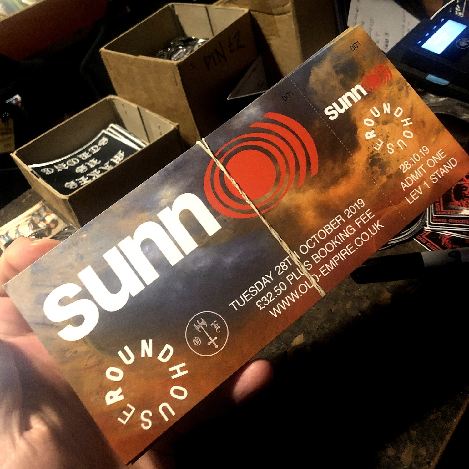 Sunn O))) ticket - live at Roundhouse - London Oct 28th 2019