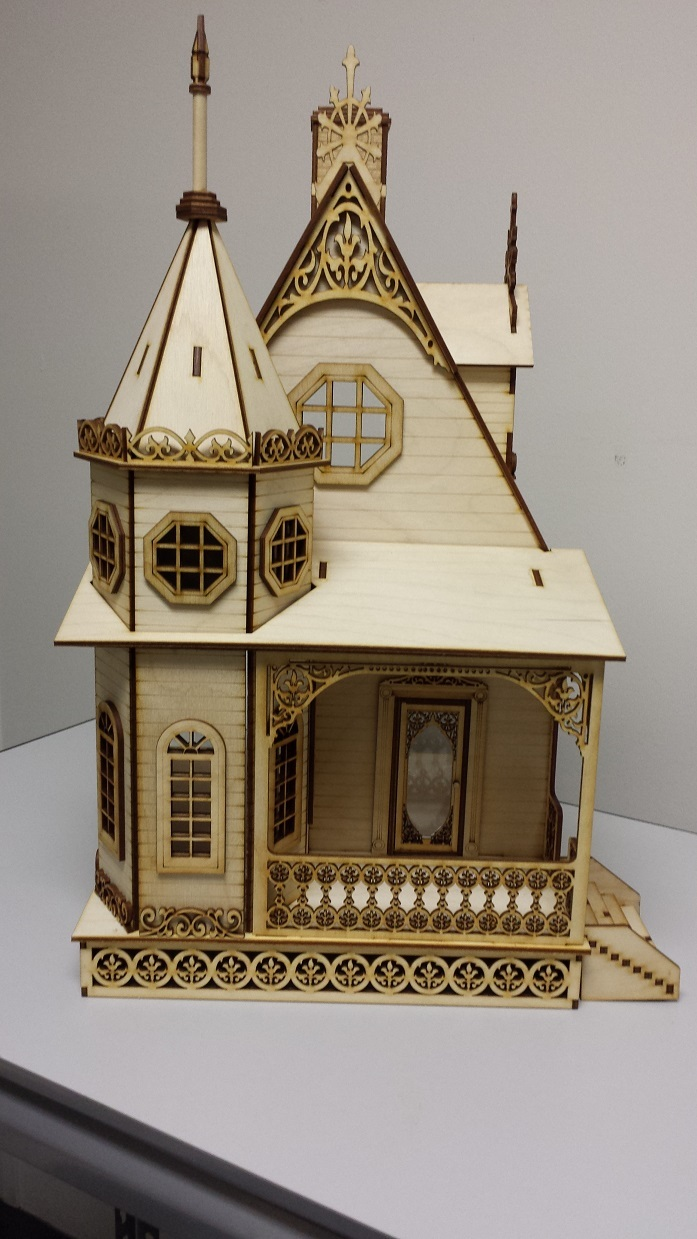 Jasmine gothic victorian cottage dollhouse 1 24 scale for Victorian kit homes