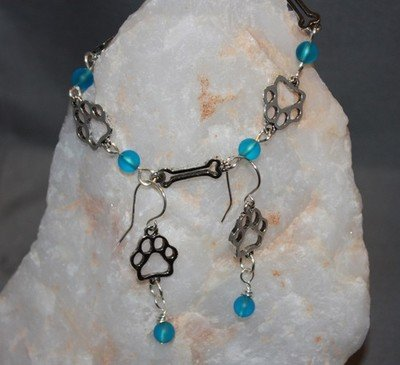 Dog paw and bone bracelet and earrings for Charity, proceeds benefit dog rescue