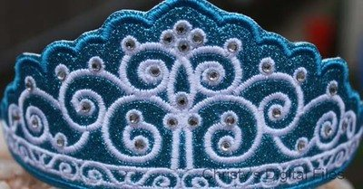 Swirl Tiara headband slider machine embroidery design