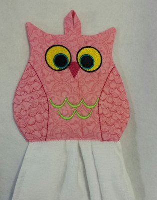 embroidery in the hoop Towel topper Owl