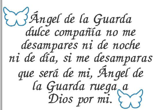Guardian Angel prayer embroidery design digital Spanish