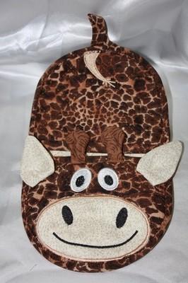 embroidery in the hoop giraffe oven mitt