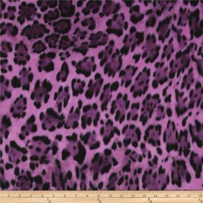 Purple Fleece leopard print - 1 yard