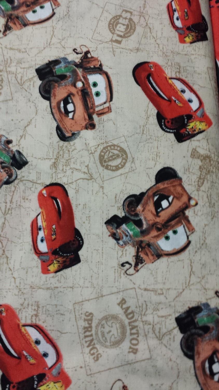 Cars movie lightning mcqueen/mater cotton fabric - 1 yard