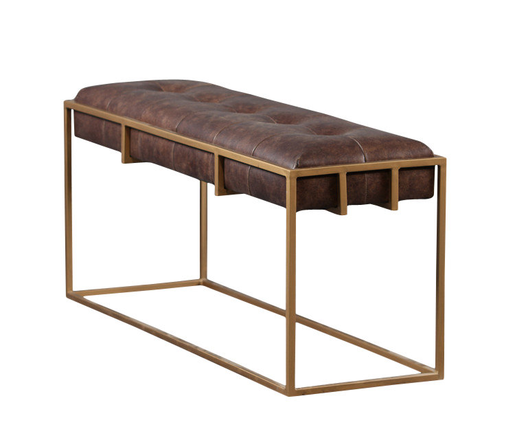 Aaron Metal Frame Leather Bench AMFLB2221