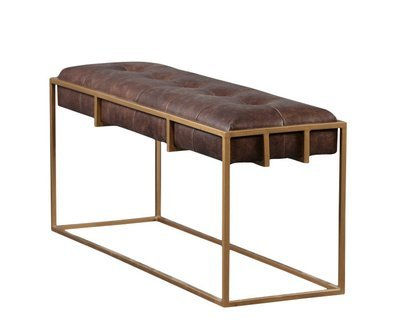 Aaron Metal Frame Leather Bench