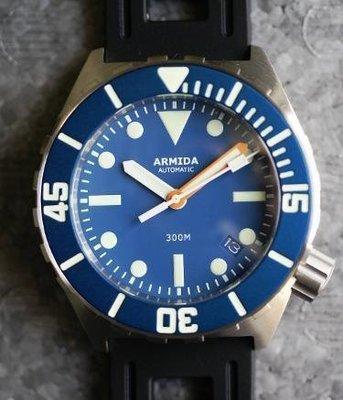Armida A1 42mm steel blue matte dial orange minute