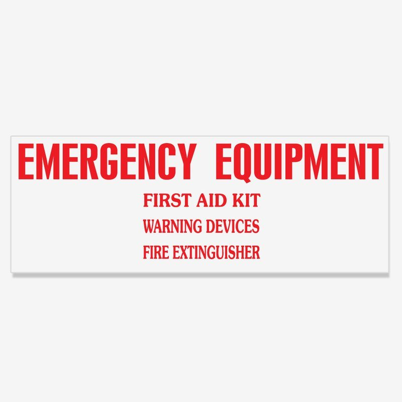 Emergency Equipment Decal
