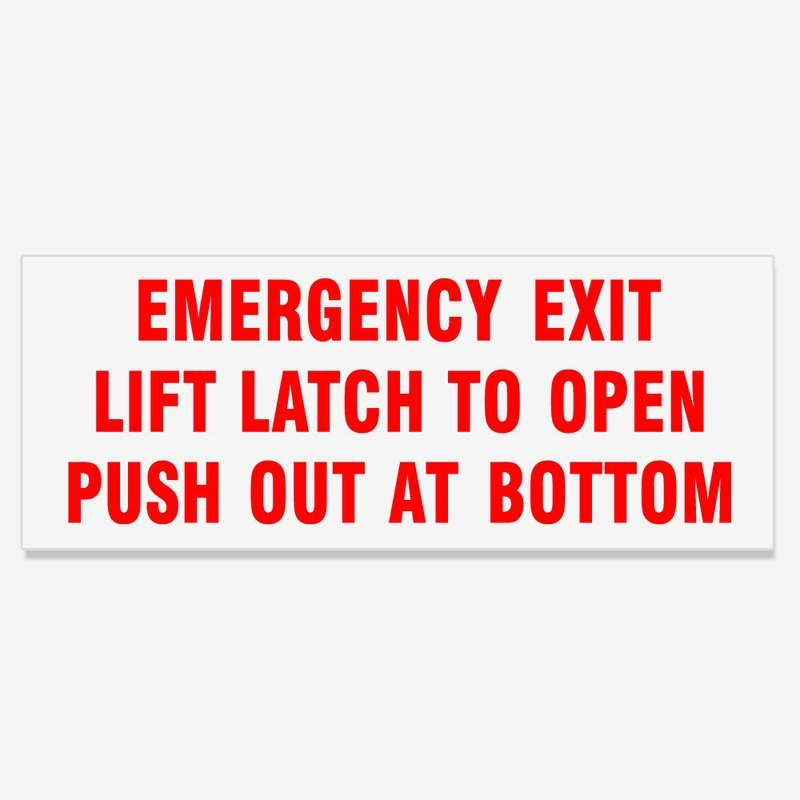 Emergency Exit Lift Latch to Open Push Out at Bottom - Red