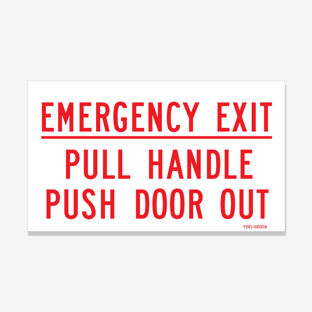 Emergency Exit Red Print on White