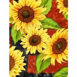 Wilmington Jardin Du Soleil Sunflowers / Red Background
