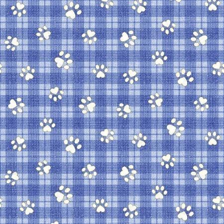 Benartex Joey The Shop Dog Paws Blue