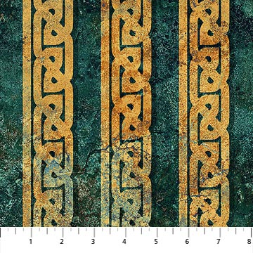 Northcott Stonehenge Solstice Border Print Teal