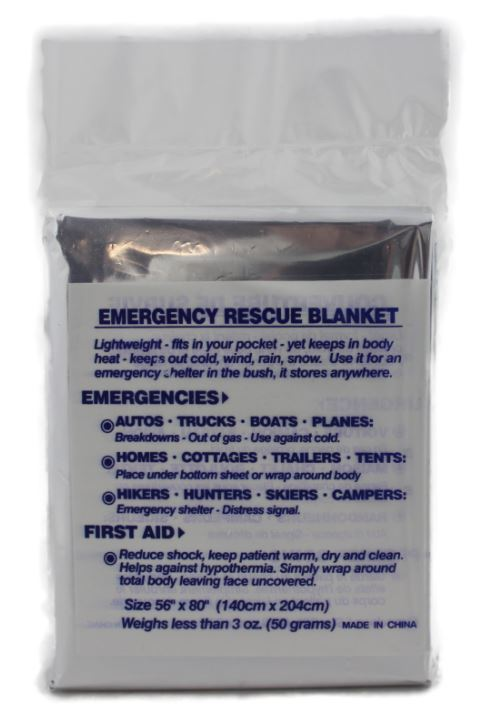 "Blanket - emergency rescue (foil)  54"" x 80"""