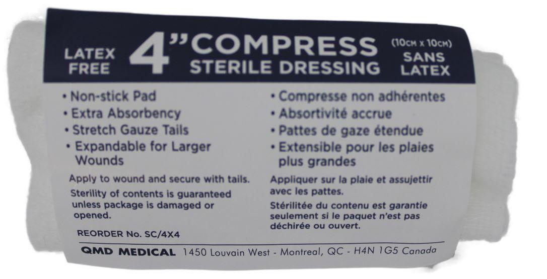 """Sterile pressure dressings with ties 4""""x4"""" - ea"""