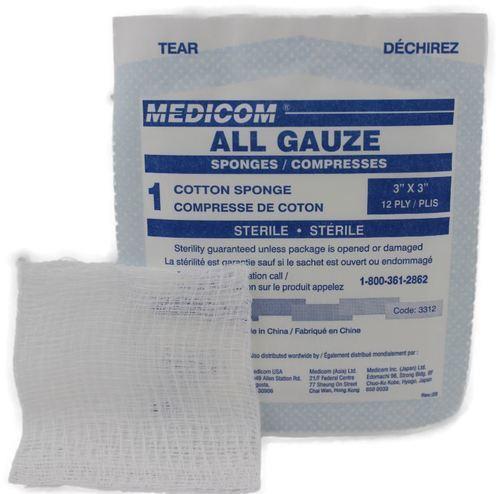 Gauze pads sterile   7.5cm x 7.5cm - 100/box