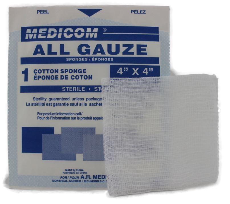 Gauze pads sterile 10cm x 10cm - 100/box