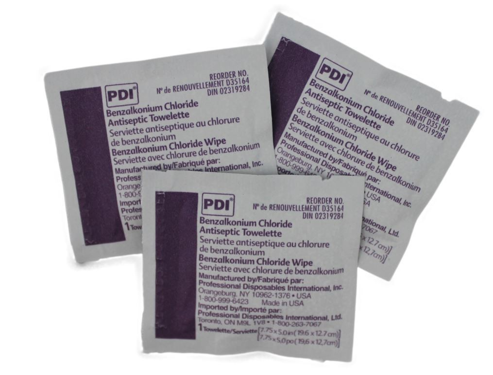 Wound cleaning BZK towelettes - pkg of 100
