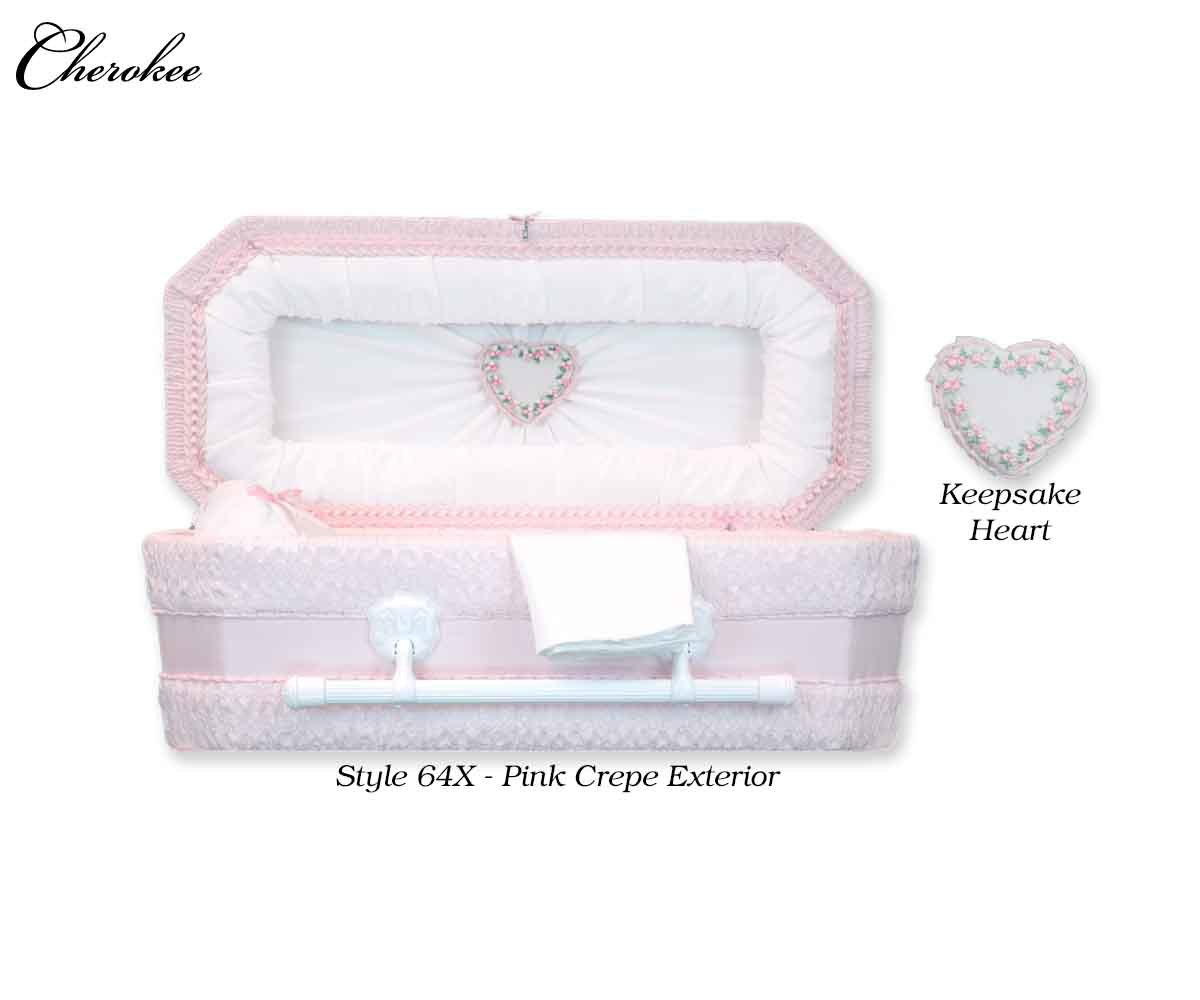 Cloth Covered Heart Keepsake Baby Casket (21 or  24 Inch Interior)     C-21-24-Cloth