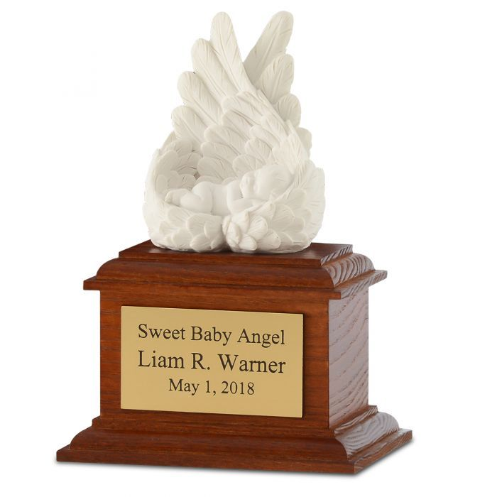 Heaven's Care Infant Urn with Wood Base 737787000137