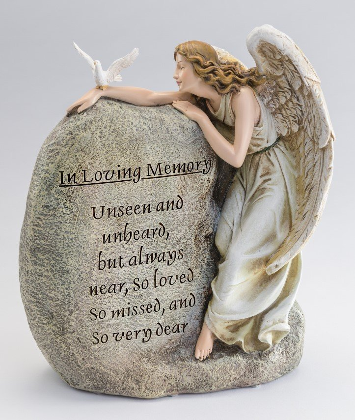 Angel Embracing Memorial Stone Large Baby Urn  U-AEMS
