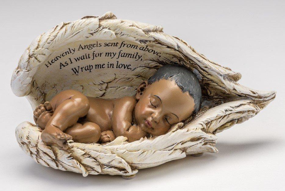 Baby In Angel Wings Urn (dark skin tone)     U-BIW-BK