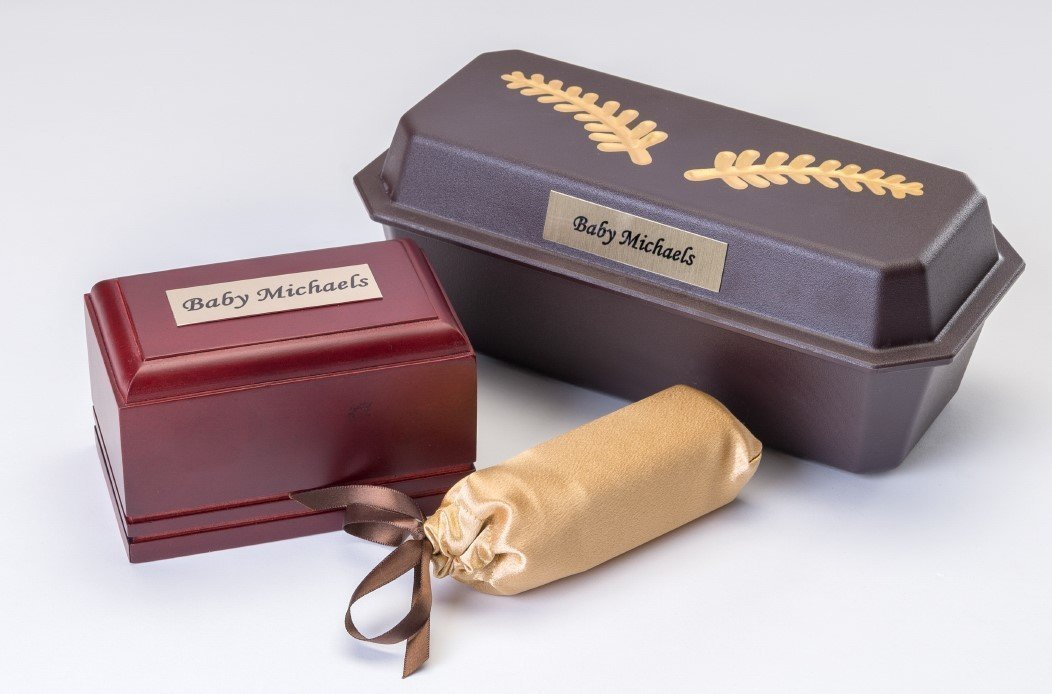 Wooden Baby Casket with Plastic Vault, Vessel and Gold Satin Cover  (up to 13 weeks)   C-4-WG