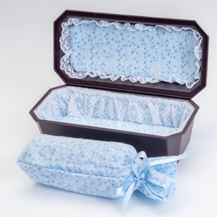 Baby Boy Cradle Casket with Blue Interior  (up to 18 weeks)   C-9-2BL 636225539485